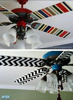 Modge Podge fabric onto fan blades. :)