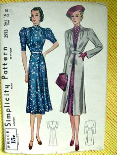 809843efeea 1930s UNCUT Vintage Simplicity Pattern 2973    BEAUTIFUL Misses  Sculptured  Frock Dress and Coat    Bust 34