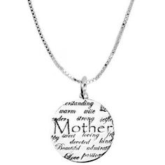 "Sterling Silver ""Mother"" ""I Love You"" Necklace Beautiful Graffiti, Pendant Jewelry, Pendant Necklace, Diy Jewelry, Graffiti Styles, Strong Love, I Love Mom, Pli, Last Minute Gifts"