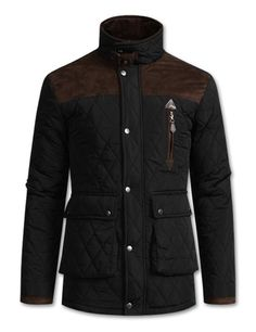 Quilted Puffer Suede Patch Press Button Coat