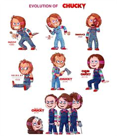 This took me more or less a month of work but finally here's my Chucky evolution! The evolution of Chucky Chucky Horror Movie, Horror Movies Funny, Horror Movie Characters, Horror Films, Scary Movies, Classic Horror Movies, Childs Play Chucky, Slasher Movies, Comedy Movies