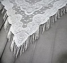 Winter White Shawl  Soft Off White Lace Wrap  Wedding by OnTheBead, $39.20