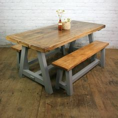 Reclaimed A-frame Rustic Trestle Table & Benches Diy Wood Projects, Furniture Projects, Trestle Table, Dining Table, Lunch Places, Woodworking Furniture Plans, Little Houses, Farmhouse Table, Wood Pallets