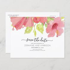 Hibiscus Wedding, Hibiscus Flowers, Floral Wedding, Rustic Save The Dates, Wedding Save The Dates, Wedding Announcements, Postcard Size, Watercolor Flowers, Elegant Wedding