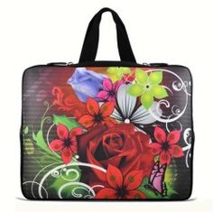 "Red Rose 17.1"" 17.3"" inch Laptop Bag Sleeve Case with Hidden Handle for Apple MacBook pro 17/Dell Inspiron 17R Alienware M17x/Samsung 700 Sony Vaio E 17/HP dv7"