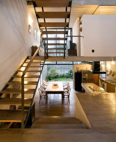 A lot of visual interest here... Reminds me of a home from the 70's. Cool layout!