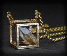 RAW DIAMOND NECKLACE  Floating Pendant by ChristinaRoseJewelry, $81.00