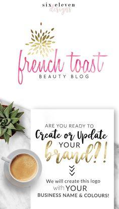 188 French Toast LOGO Premade Logo Design Branding Blog - Pink, Gold, Script, Text