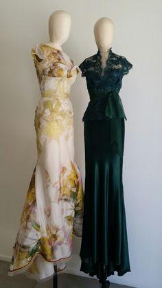 #Les Habitudes #Los Angeles # watercolor print Italian romance#silk emerald green and lace!# stunning!