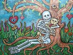 Lisa-Luree-art-Original-Day-of-the-Dead-DOG-PLAYDATE-skeleton-Ready-to-Hang-ooak