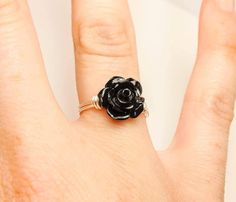 Gothic Black Rose Ring - Wire Wrapped Unique - Black Dahlia - Made to Order - Silver