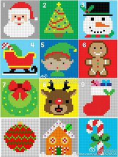 Cross Stitch Cards, Cross Stitching, Cross Stitch Embroidery, Cross Stitch Patterns, Melty Bead Patterns, Beading Patterns, Crochet Patterns, Christmas Perler Beads, Christmas Cross