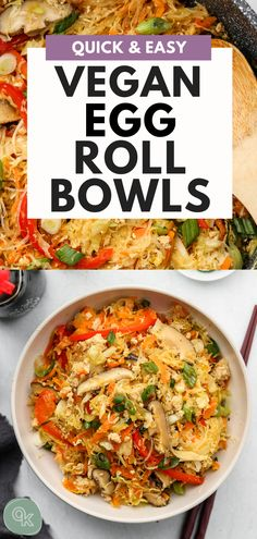 This Vegan Egg Roll in a Bowl is the perfect quick and easy weeknight dinner loaded with vegetables, textures and flavours! A classic take-out meal made healthy with a gluten free option. vegan dinner Vegan Egg Roll in a Bowl (Quick & Easy) Quick Vegetarian Dinner, Easy Vegan Dinner, Vegetarian Recipes Dinner, Vegan Dinners, Healthy Dinners, Vegetarian Kids, Vegetarian Appetizers, Weeknight Dinners, Vegan Egg Rolls
