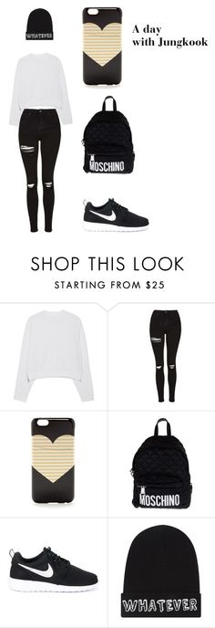 """""""A Day with BTS Jungkook"""" by ashleyokyere ❤ liked on Polyvore featuring Acne Studios, Topshop, J.Crew, Moschino, NIKE and Local Heroes"""