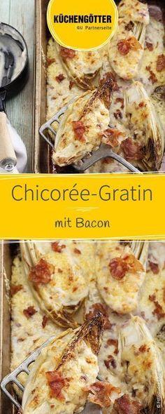 Schnelles Low-Carb-Rezept für leckeren Chicorée-Gratin mit Bacon.