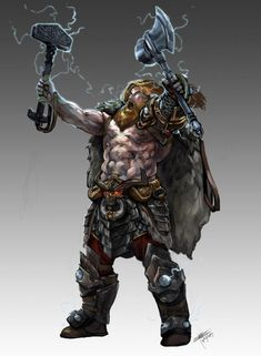 Thor Odinson, God of War and Thunder.) Dungeons and Dragons X Avengers fan concept art. Dungeons And Dragons Characters, Dnd Characters, Fantasy Characters, Dark Fantasy, Fantasy Armor, New Fantasy, Marvel Art, Marvel Avengers, Spiderman Marvel