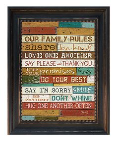 Take+a+look+at+the+'Our+Family+Rules'+Framed+Wall+Art+on+#zulily+today!