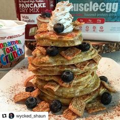 Treats to keep you going through the week  check this out thanks to @wycked_shaun  #repost  Blueberry Cinnamon Toast Crunch procakes!! Sometimes you need no added syrup as they were cooked to perfection. Fluffy 'n Moist with the provided crunch with some of the cinnamon toast cooked into the pancakes themselves. - #muscleegg #iifym  #pancakes #flexibledieting #foodie -  For your discount code on @muscleegg  DM @wycked_shaun