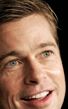 Brad Pitt face close up.