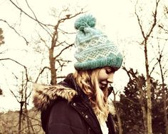 Blue Nordic Hand Knitted Hat - Icelandic Wool Hat - Alafoss Lopi Hat
