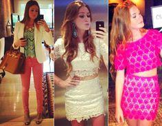 Crochê e mais crochê, Marina também já entrou na tendência cropped com conjuntinhos desse tecido artesanal. Opções perfeitas para você se inspirar na hora de ir para a balada!