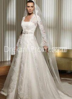 Gorgeous A-Line/Princess Strapless Chapel Embroidery Wedding Dresses