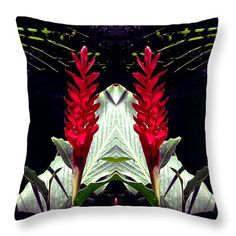 """Red Canna Lilies Mirrored Symetry Throw Pillow 14"""" x 14"""""""