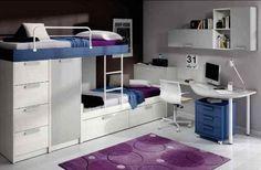 Dormitorio juvenil en blanco y azul