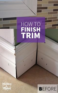 Today I explore some great DIY tips & tricks on how to repair and finish trim around your house (whether it's baseboards, window trim or crown molding) Home Improvement Projects, Home Projects, Home Renovation, Home Remodeling, Cheap Home Decor, Diy Home Decor, Baseboard Trim, Baseboard Ideas, Home Fix