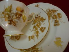 "HAMMERSLEY ""GOLDEN THISTLE"" TEA CUP AND SAUCER TRIO LUSH GILDING ~PERFECT~"