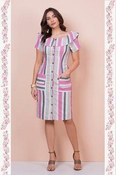 Vestido Naomi - Kauly - Moda Evangélica e Roupa Evangélica: Bela Loba - Plus Size Summer Dresses, Simple Dresses, Cute Dresses, Casual Dresses, Short Sleeve Dresses, 70s Fashion, Modest Fashion, Fashion Outfits, Vintage Fashion