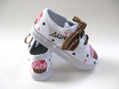 Girls Cupcake Shoes, Hand Painted, Baby and Toddler, Kids Birthday Sneakers by boygirlboygirldesign, $30.00