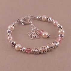 Childs Name Bracelet White Pearls by SixSistersBeadworks on Etsy, $48.00