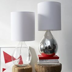 two of the clear glass Jug Table Lamps | west elm for the bedroom