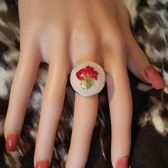 Magical real rose resin ring