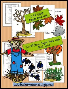 3 of the songs featured in a pack of 10 Fall Songs.  Use images on magnet boards or felt boards!  Great set!