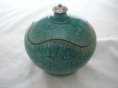 Studio Pottery Covered Pot by Rick Loewenkamp Raku Sterling Silver Turquoise New | eBay