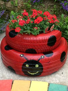 Garden art 315111305180732320 - Tire garden, Container garden design, Tire planters, Garden, Contain Tire Garden, Garden Yard Ideas, Garden Crafts, Diy Garden Decor, Garden Projects, Garden Art, Garden Decorations, Fence Ideas, Art Crafts