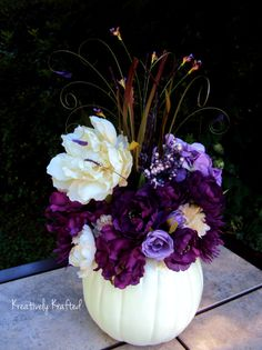 White Cream & Purple Plum Eggplant Pumpkin by KreativelyKrafted Autumn Fall Wedding centerpiece floral arrangement.