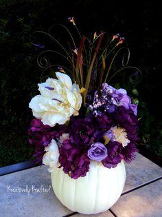 White Cream & Purple Plum Eggplant Pumpkin by KreativelyKrafted Autumn Fall Wedding centerpiece floral arrangement.