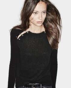 Sweater with shoulder slits and safety pin embellishment - Knitwear - Woman - The Kooples