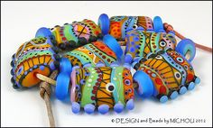Michou P Anderson Lampwork Beads  Calypso & by michoudesign, $229.00