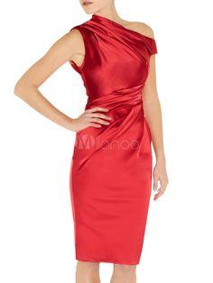 Red Shaping Acetate Fiber Women's Sleeveless Dress - Milanoo.com