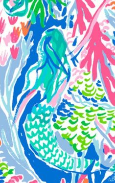 Lilly Pulitzer print: Mermaid Cove for Pottery Barn Lilly Pulitzer Patterns, Lilly Pulitzer Prints, Lily Pulitzer Painting, Mermaid Cove, Mermaid Art, Lilly Pulitzer Iphone Wallpaper, Cosplay Steampunk, Mermaid Kisses, Dengeki Daisy
