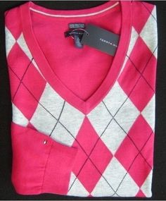 Tommy Hilfiger Womens Argyle Sweater in Pink Gray
