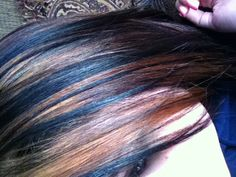 Brown highlights and some blonde highlights on black hair. #loveit