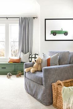 Photo by Bria Hammel Interiors in Rochester, Minnesota with and Image may contain: living room, table and indoor Big Boy Bedrooms, Baby Boy Rooms, Kids Bedroom, Kids Rooms, Toddler Rooms, Young Boys Bedroom Ideas, 1930s Bedroom, Little Boys Rooms, Boy Toddler Bedroom