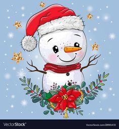 Cute cartoon snowman with christmas wreath vector image on VectorStock Christmas Rock, Christmas Snowman, Christmas Wreaths, Christmas Crafts, Christmas Drawing, Christmas Paintings, Christmas Clipart, Christmas Pictures, Arts And Crafts