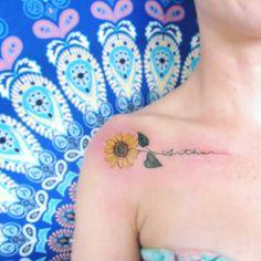 Sunflower Tattoo Shoulder, Sunflower Tattoo Small, Sunflower Tattoos, Sunflower Tattoo Design, Bone Tattoos, Body Art Tattoos, Sleeve Tattoos, Tatoos, Unique Tattoos