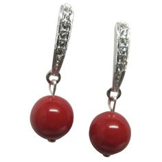 ✤✤....Shop online from our exquisite collection of traditional semi-precious earrings from India. We offer Bridal Red Pearl Party earrings.